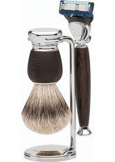 Erbe Shaving Shop Premium Design MILANO Silberspitz & Fusion Wengeholz Rasiergarnitur Rasierset