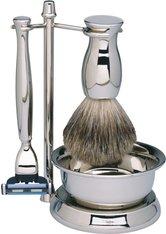 Erbe Shaving Shop Rasierset vierteilig, verchromt/glänzend, Gillette Mach 3, mit Schale