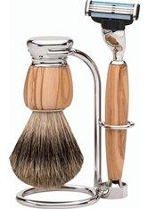 Erbe Shaving Shop Premium Design MILANO Rasiergarnitur Dachshaar & Mach3 Olivenholz Rasierset