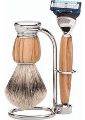 Erbe Shaving Shop Premium Design MILANO Rasiergarnitur Silberspitz & Fusion Olivenholz Rasierset
