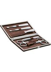 Erbe Collection sechsteiliges Manicure Set im braunen Lederetui 15 x 8,5 cm Maniküre-Set
