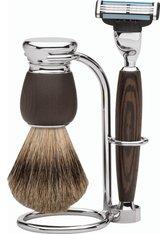 Erbe Shaving Shop Premium Design MILANO Rasiergarnitur Dachshaar & Mach3 Wengeholz Rasierset